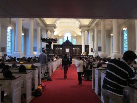 Psy's perspective entering Harvard University's Memorial Church.